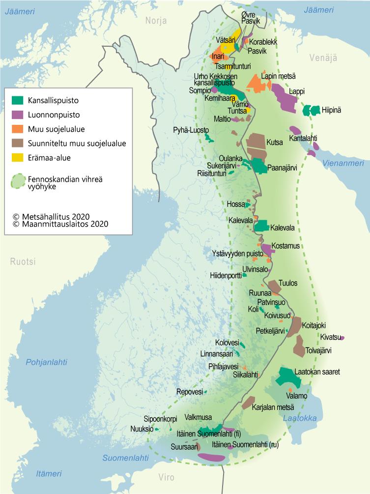 Fennoskandian vihreän vyöhykkeen kartta, joka näyttää alueen kulkevan pitkin Suomen ja Venäjän rajaa jäämereltä Suomenlahdelle.