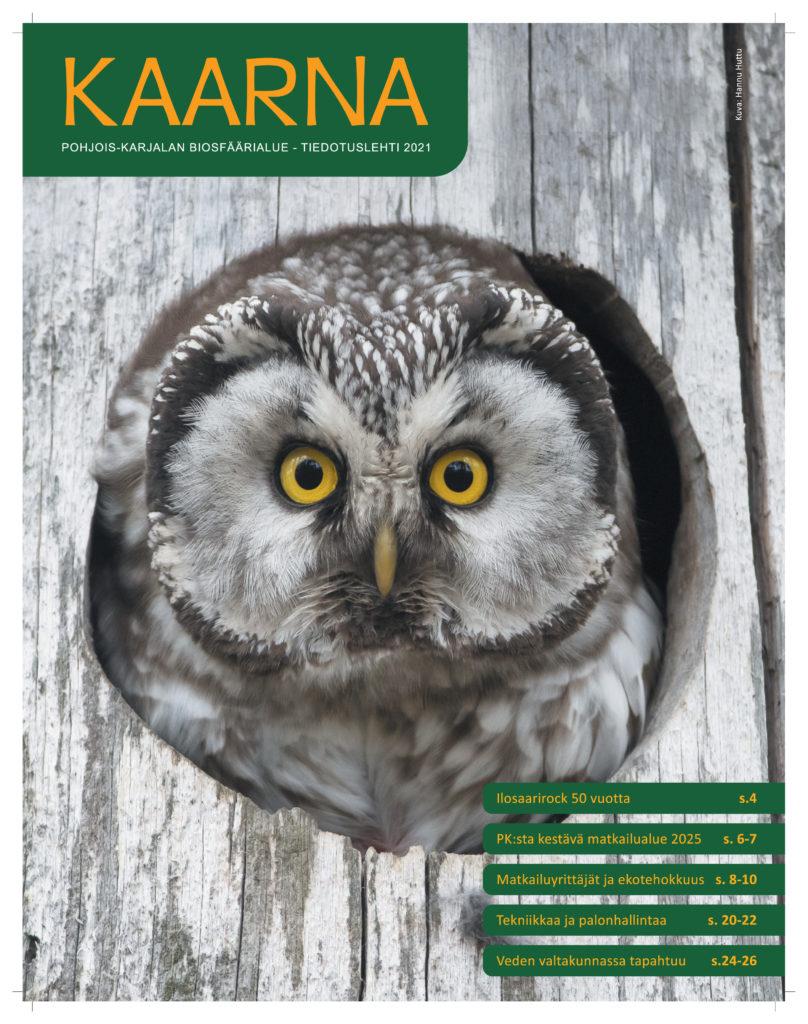 Biosfäärialueen tiedotuslehti Kaarnan etusivu, jossa on pöllön kuva.